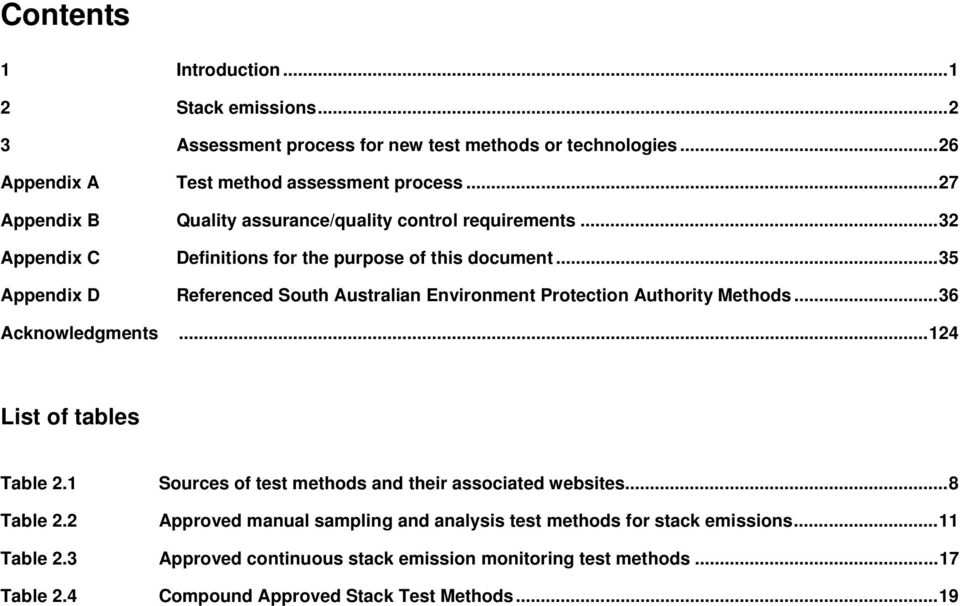 ..35 Appendix D Referenced South Australian Environment Protection Authority Methods...36 Acknowledgments...124 List of tables Table 2.1 Table 2.