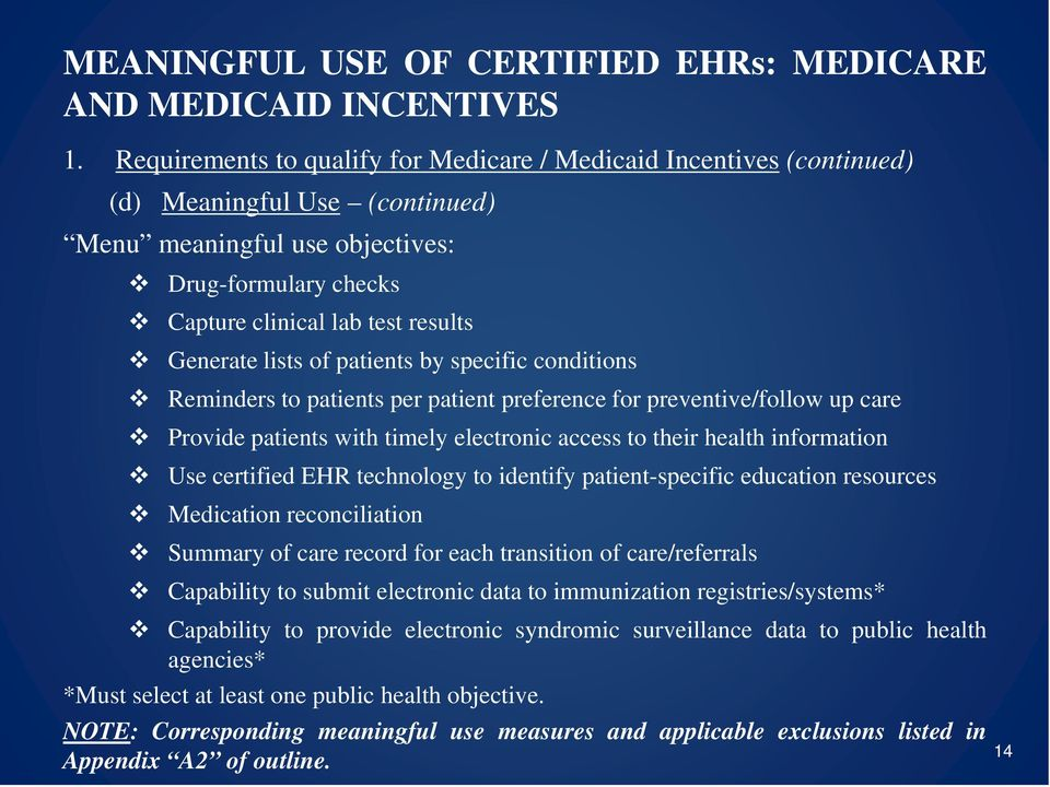 Use certified EHR technology to identify patient-specific education resources Medication reconciliation Summary of care record for each transition of care/referrals Capability to submit electronic