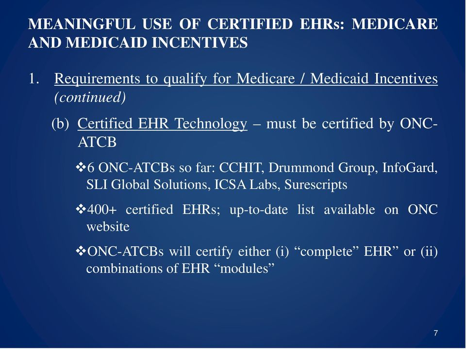 SLI Global Solutions, ICSA Labs, Surescripts 400+ certified EHRs; up-to-date list available on