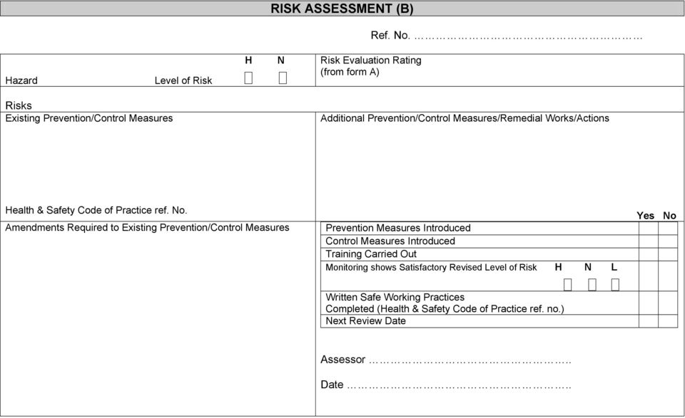 Measures/Remedial Works/Actions Health & Safety Code of Practice ref. No.