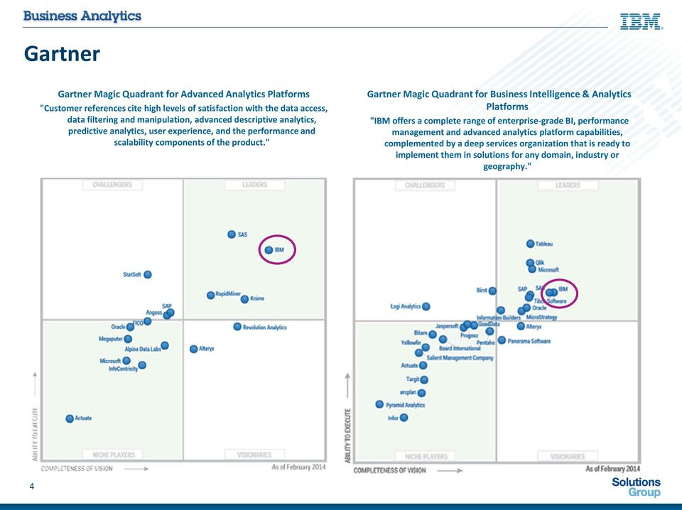 """ Gartner Magic Quadrant for Business Intelligence & Analytics Platforms ""IBM offers a complete range of enterprise-grade BI, performance management and"