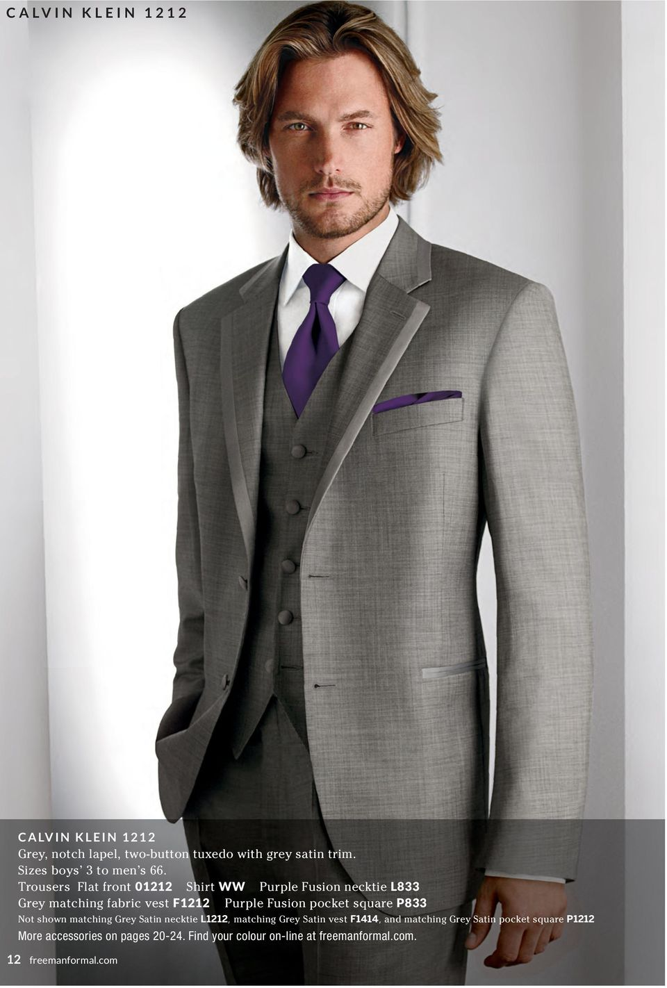 Trousers Flat front 01212 Shirt WW Purple Fusion necktie L833 Grey matching fabric vest F1212 Purple