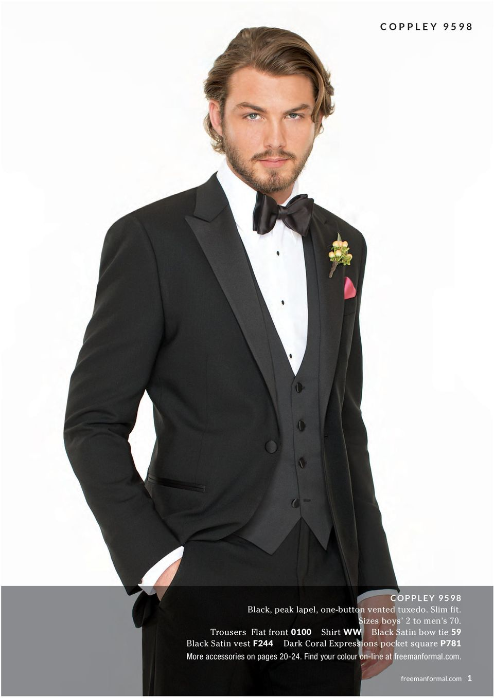 Trousers Flat front 0100 Shirt WW Black Satin bow tie 59 Black