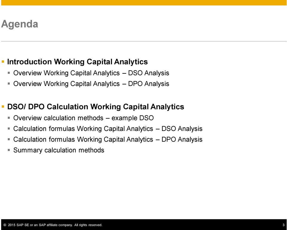 example DSO Calculation formulas Working Capital Analytics DSO Analysis Calculation formulas Working Capital