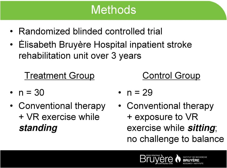 Conventional therapy + VR exercise while standing Control Group n = 29