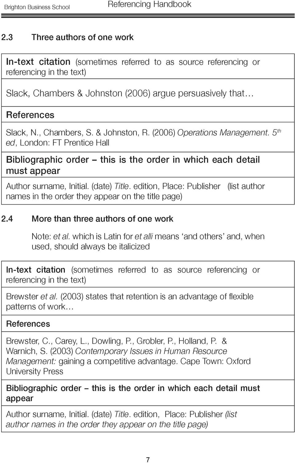 edition, Place: Publisher (list author names in the order they on the title page) 2.4 More than three authors of one work Note: et al.