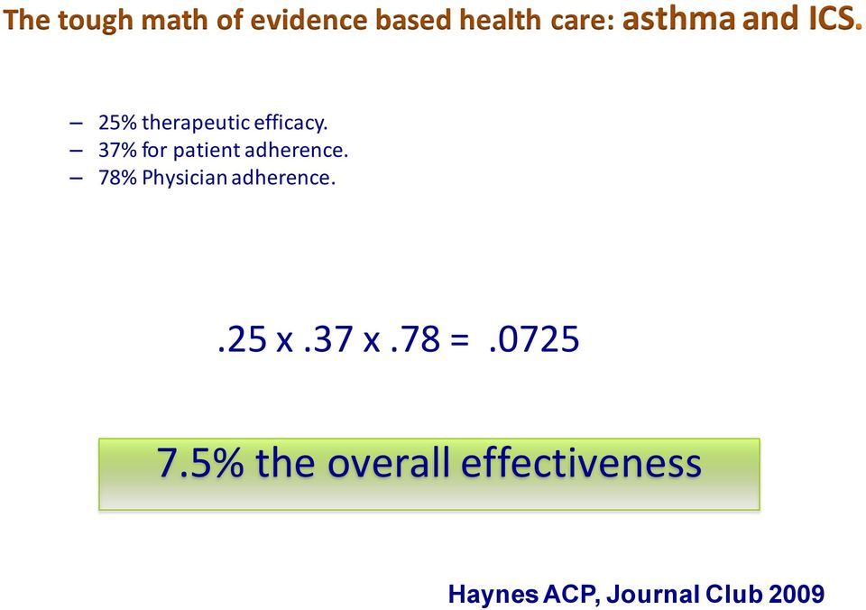 37% for patient adherence. 78% Physician adherence.