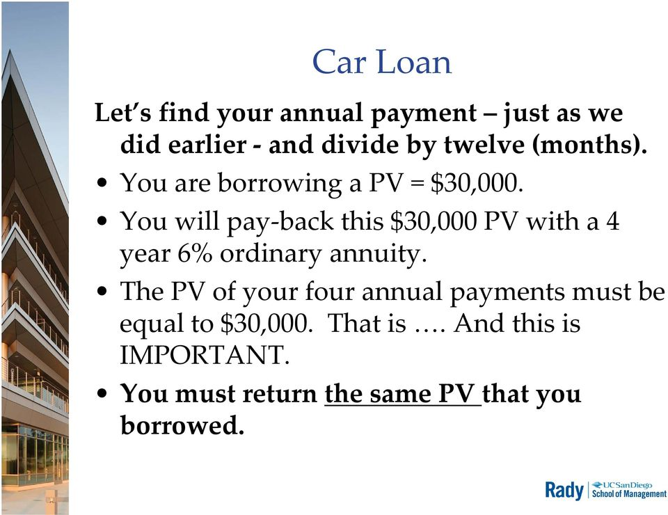 You will pay back this $30,000 PV with a 4 year 6% ordinary annuity.