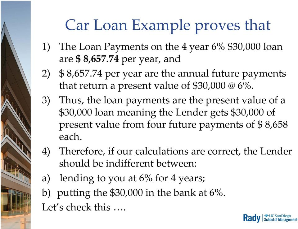 3) Thus, the loan payments are the present value of a $30,000 loan meaning the Lender gets $30,000 of present value from four future