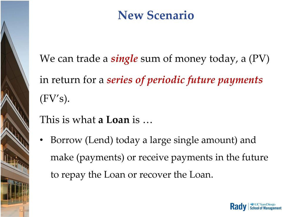 This is what a Loan is Borrow (Lend) today a large single amount) and