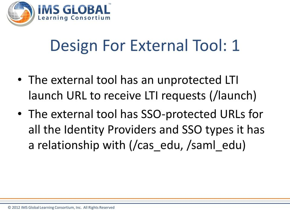 The extenal tool has SSO-potected URLs fo all the Identity