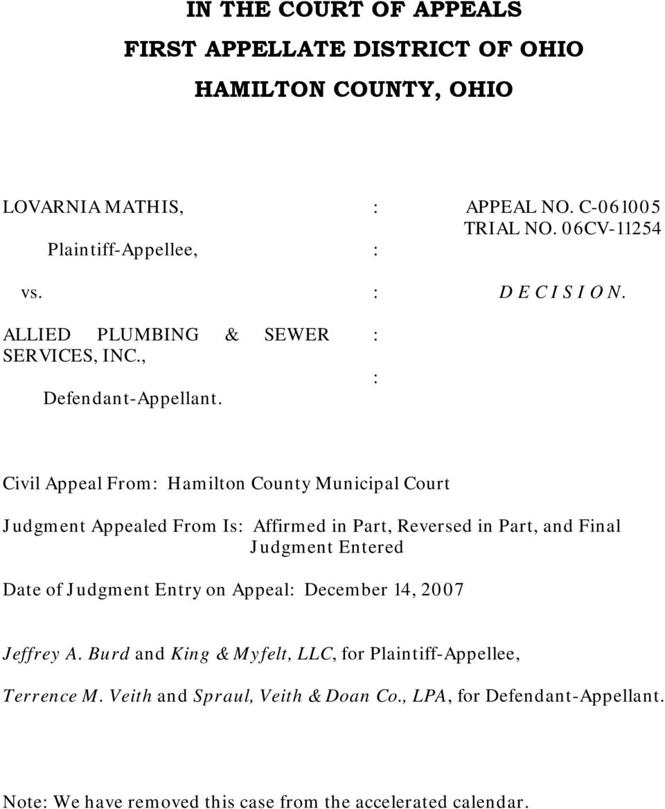 Civil Appeal From Hamilton County Municipal Court Judgment Appealed From Is Affirmed in Part, Reversed in Part, and Final Judgment Entered Date of Judgment