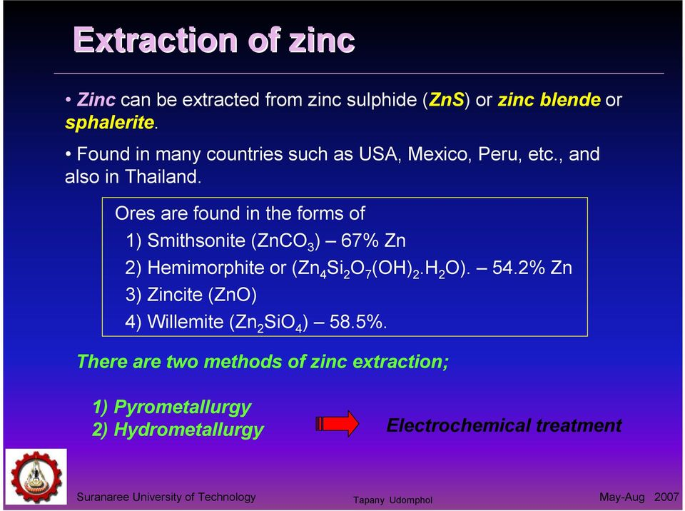 Ores are found in the forms of 1) Smithsonite (ZnCO 3 ) 67% Zn 2) Hemimorphite or (Zn 4 Si 2 O 7 (OH) 2.H 2 O).