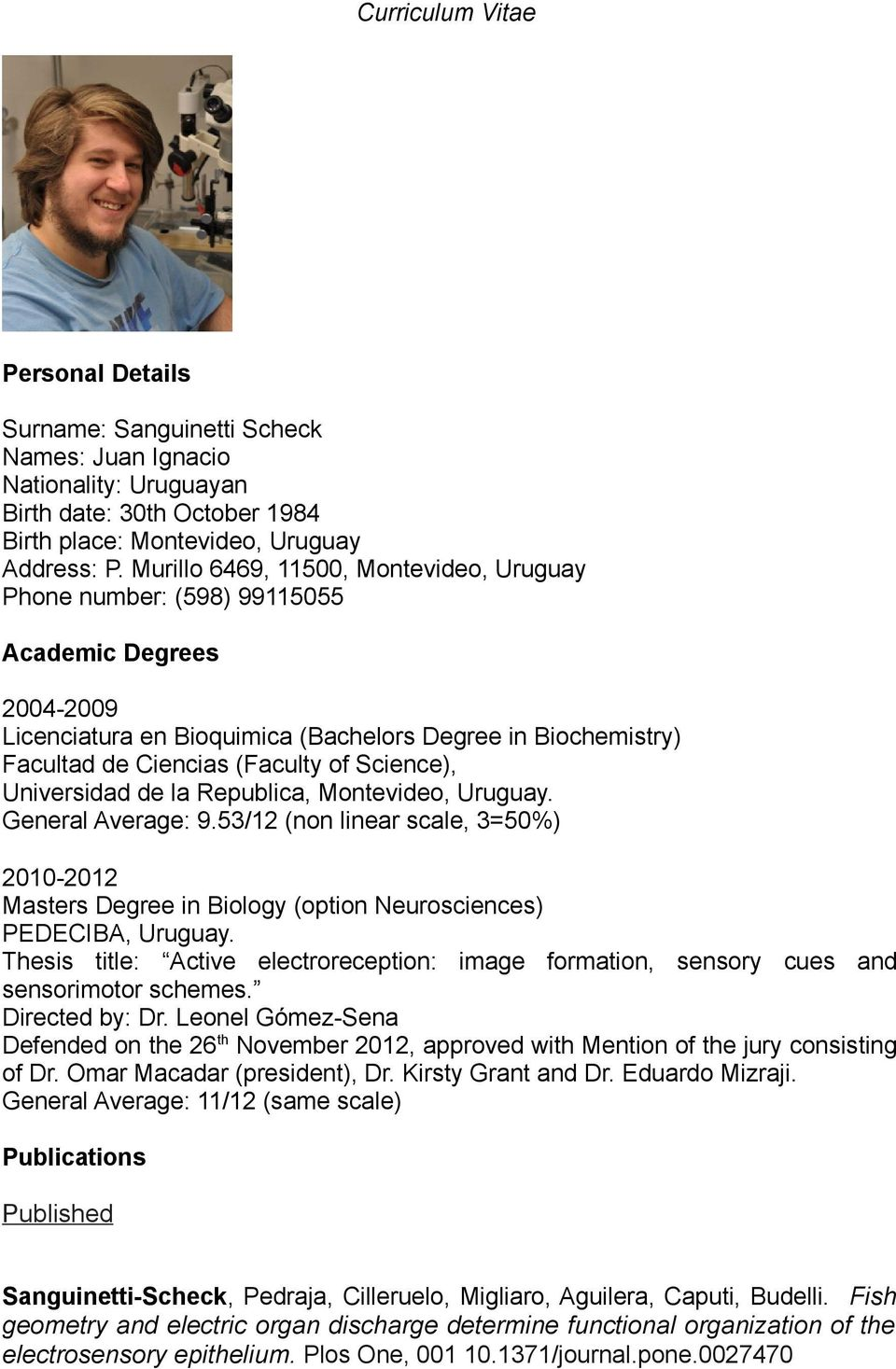 Published Curriculum Vitae Personal Details Pdf