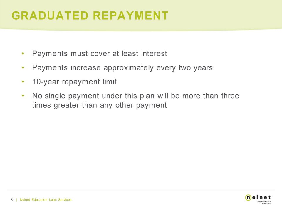 repayment limit No single payment under this plan will be more