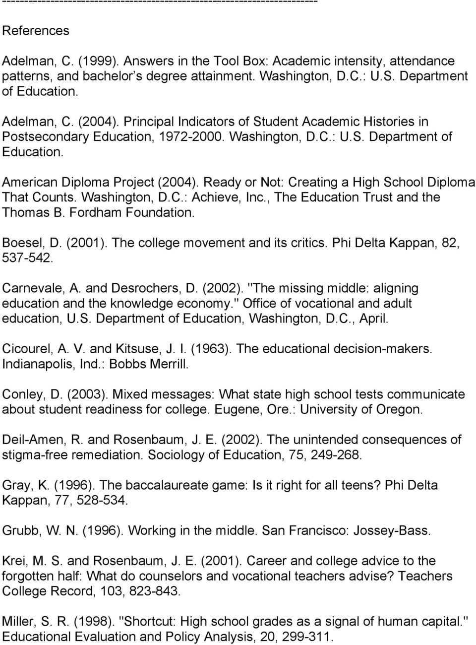 Principal Indicators of Student Academic Histories in Postsecondary Education, 1972-2000. Washington, D.C.: U.S. Department of Education. American Diploma Project (2004).