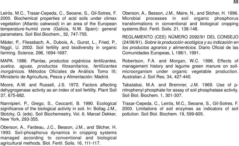 Mäder, P., Fliessbach, A., Dubois, A., Gunst, L., Fried, P., Niggli, U. 2002. Soil fertility and biodiversity in organic farming. Science, 296, 1694-1697. MAPA. 1986.