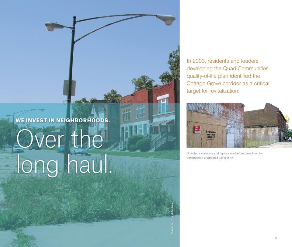 WE INVEST IN NEIGHBORHOODS. Over the long haul.