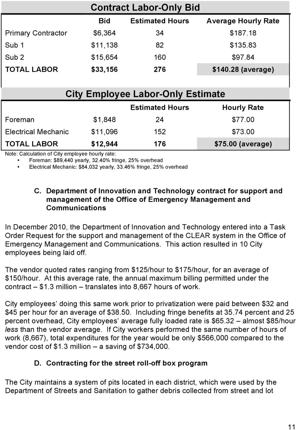 00 (average) Note: Calculation of City employee hourly rate: Foreman: $89,440 yearly, 32.40% fringe, 25% overhead Electrical Mechanic: $84,032 yearly, 33.46% fringe, 25% overhead C.