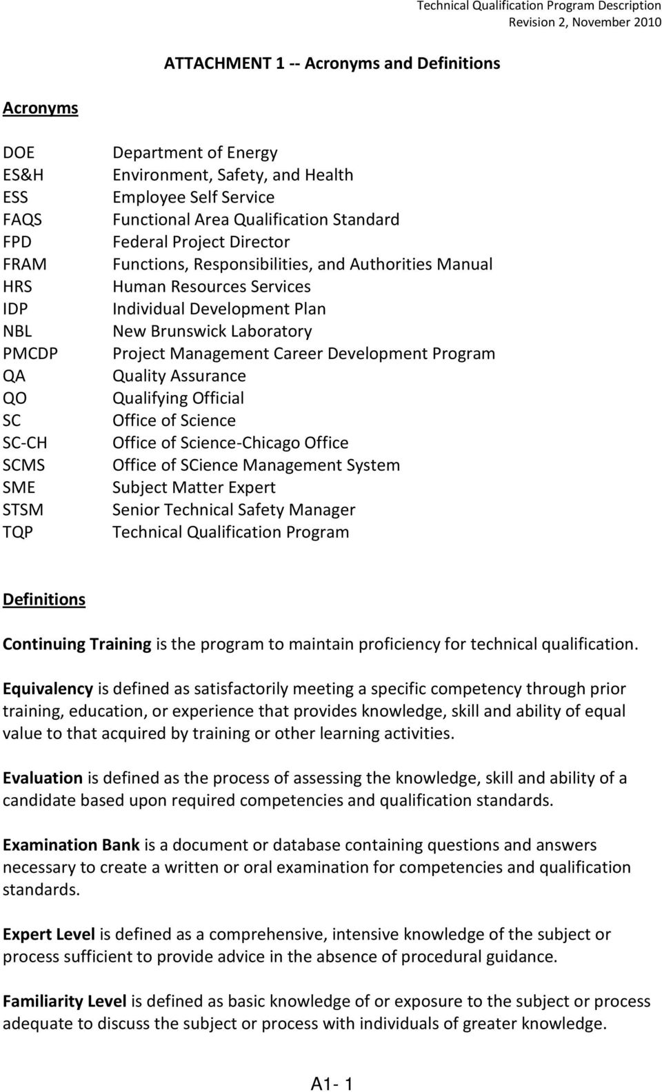 Individual Development Plan New Brunswick Laboratory Project Management Career Development Program Quality Assurance Qualifying Official Office of Science Office of Science-Chicago Office Office of