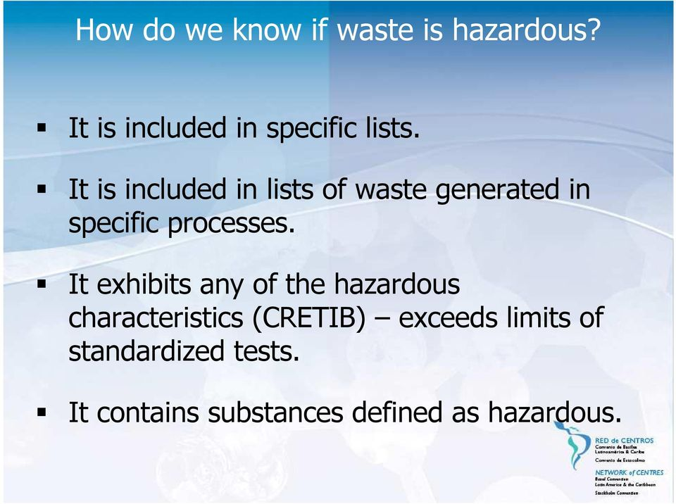 It is included in lists of waste generated in specific processes.