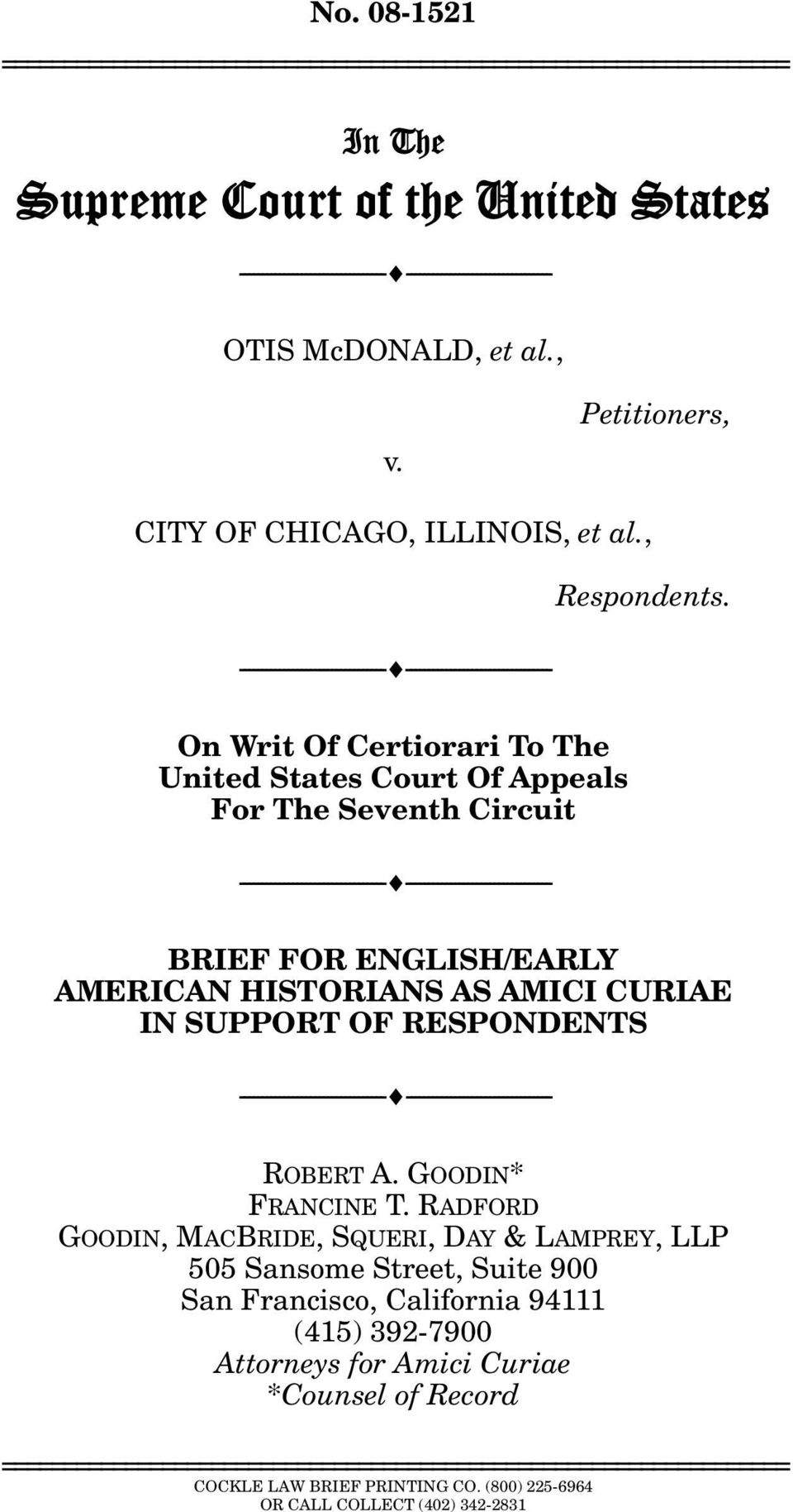 , --------------------------------- --------------------------------- On Writ Of Certiorari To The United States Court Of Appeals For The Seventh Circuit ---------------------------------