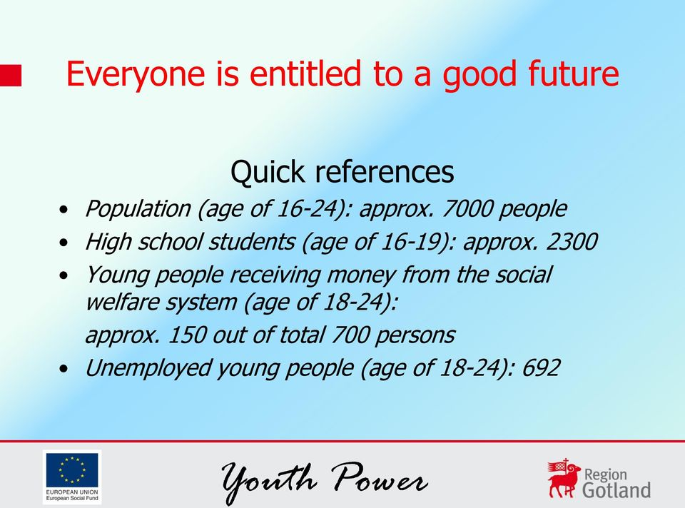 2300 Young people receiving money from the social welfare system
