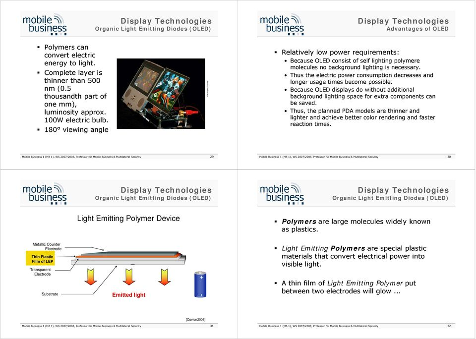 tw Relatively low power requirements: Because OLED consist of self lighting polymere molecules no background lighting is necessary.