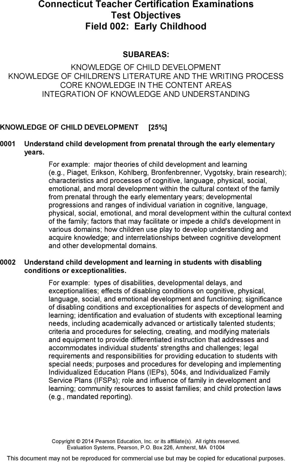 For example: major theories of child development and learning