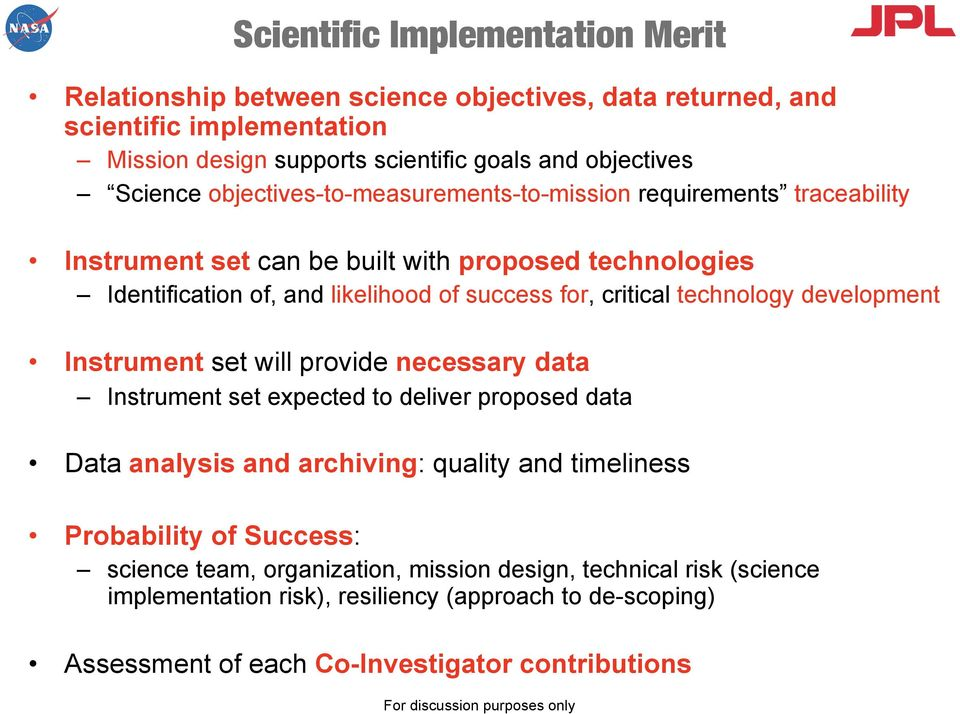 technology development Instrument set will provide necessary data Instrument set expected to deliver proposed data Data analysis and archiving: quality and timeliness Probability of