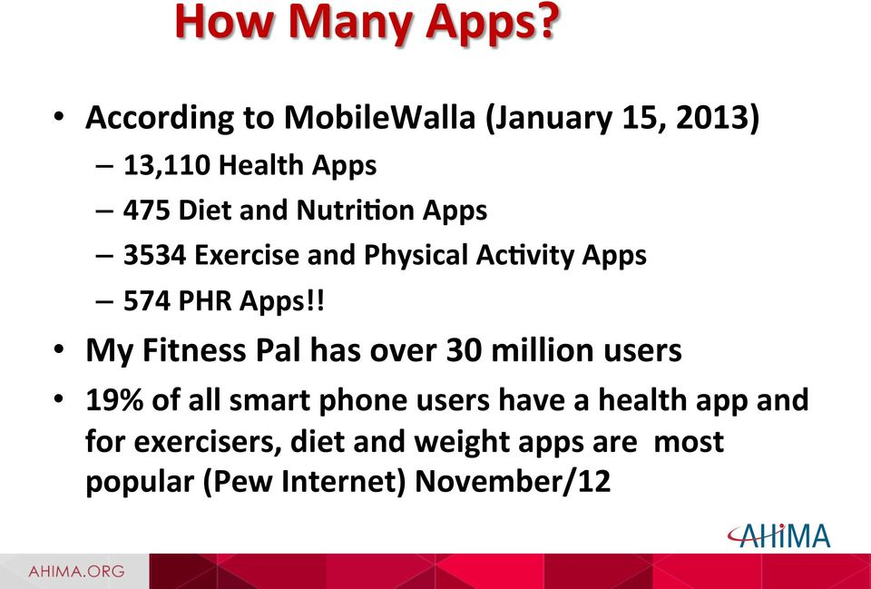 Nutri=on Apps 3534 Exercise and Physical Ac=vity Apps 574 PHR Apps!
