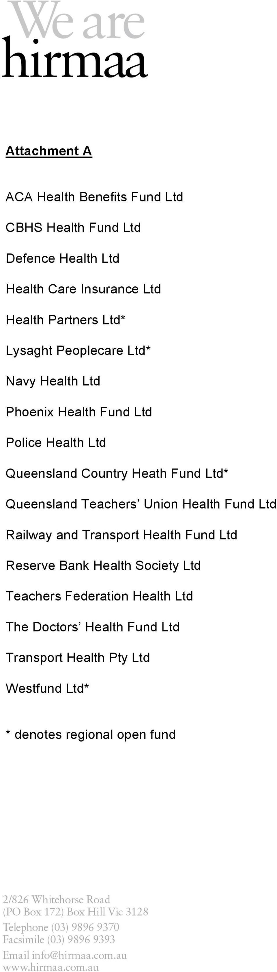 Fund Ltd* Queensland Teachers Union Health Fund Ltd Railway and Transport Health Fund Ltd Reserve Bank Health Society