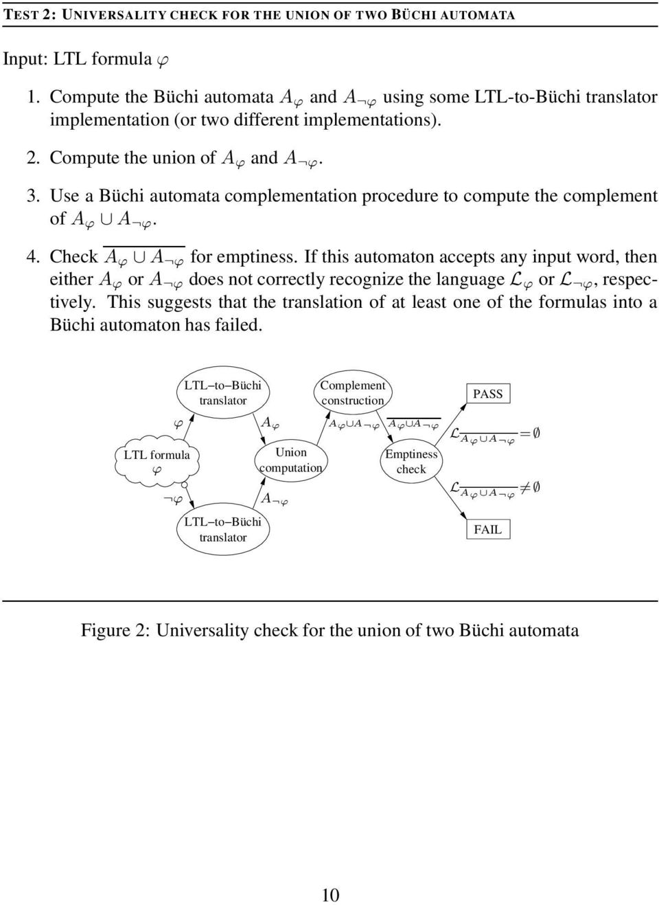 Use a Büchi automata complementation procedure to compute the complement of A ϕ A ϕ. 4. Check A ϕ A ϕ for emptiness.