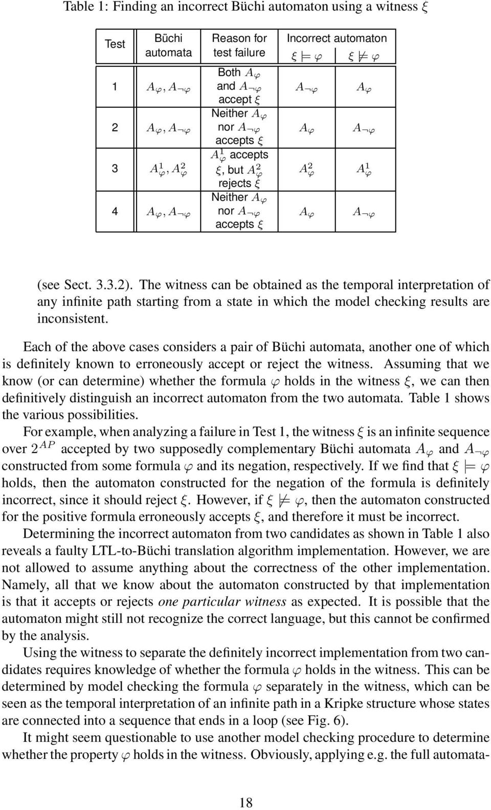 The witness can be obtained as the temporal interpretation of any infinite path starting from a state in which the model checking results are inconsistent.