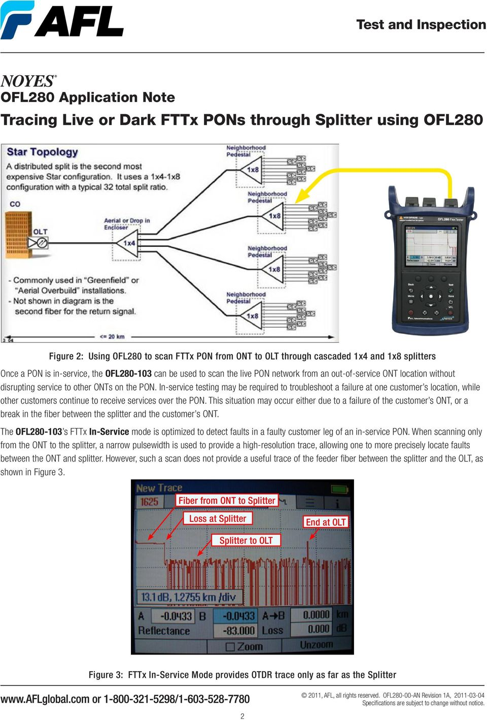 In-service testing may be required to troubleshoot a failure at one customer s location, while other customers continue to receive services over the PON.