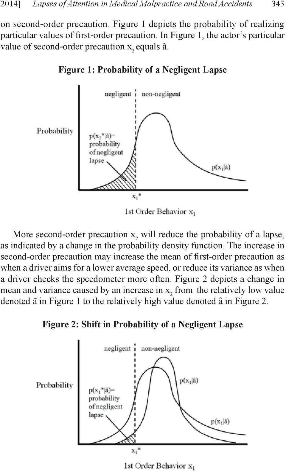 Figure 1: Probability of a Negligent Lapse More second-order precaution x 2 will reduce the probability of a lapse, as indicated by a change in the probability density function.