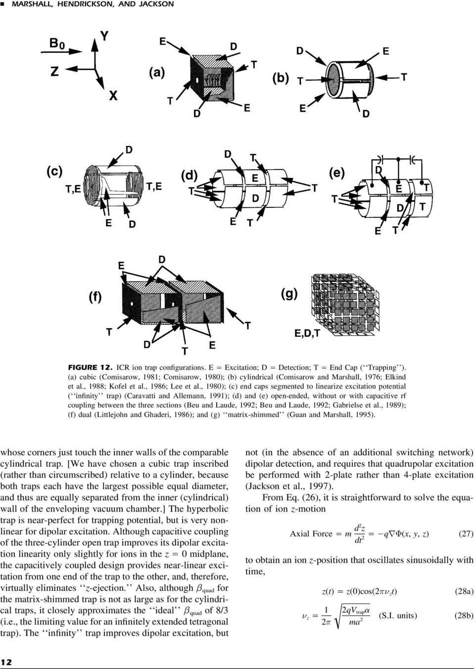 , 1980); (c) end caps segmented to linearize excitation potential ( infinity trap) (Caravatti and Allemann, 1991); (d) and (e) open-ended, without or with capacitive rf coupling between the three