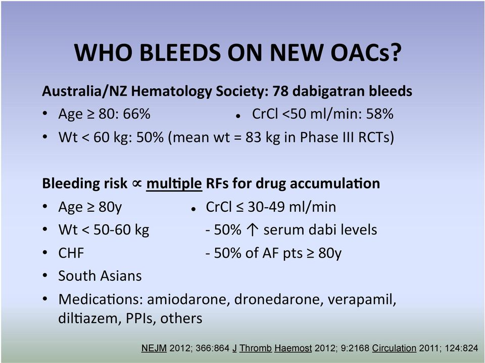 83 kg in Phase III RCTs) Bleeding risk mulgple RFs for drug accumulagon Age 80y CrCl 30-49 ml/min Wt < 50-60 kg -