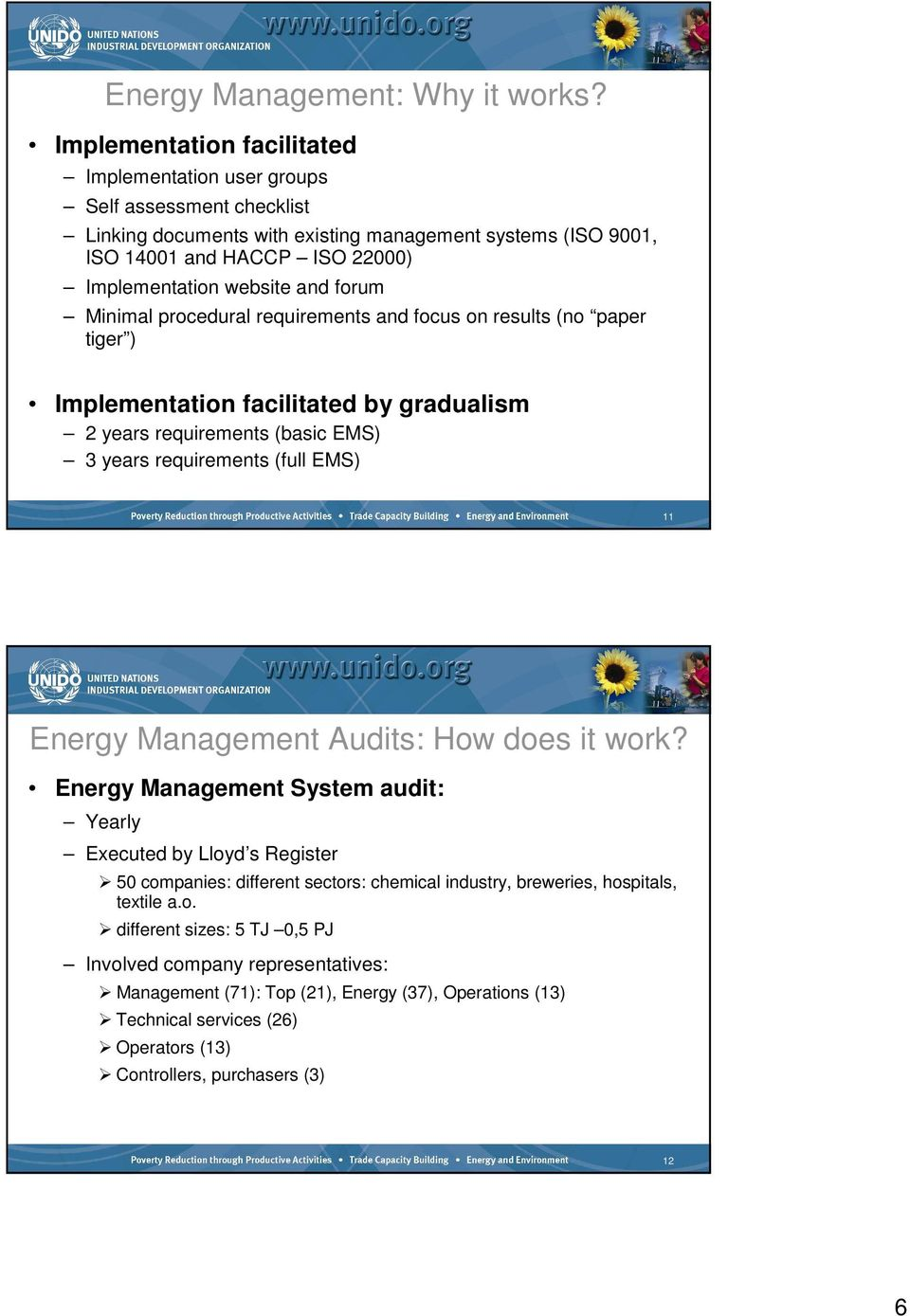 forum Minimal procedural requirements and focus on results (no paper tiger ) Implementation facilitated by gradualism 2 years requirements (basic EMS) 3 years requirements (full EMS) 11 Energy