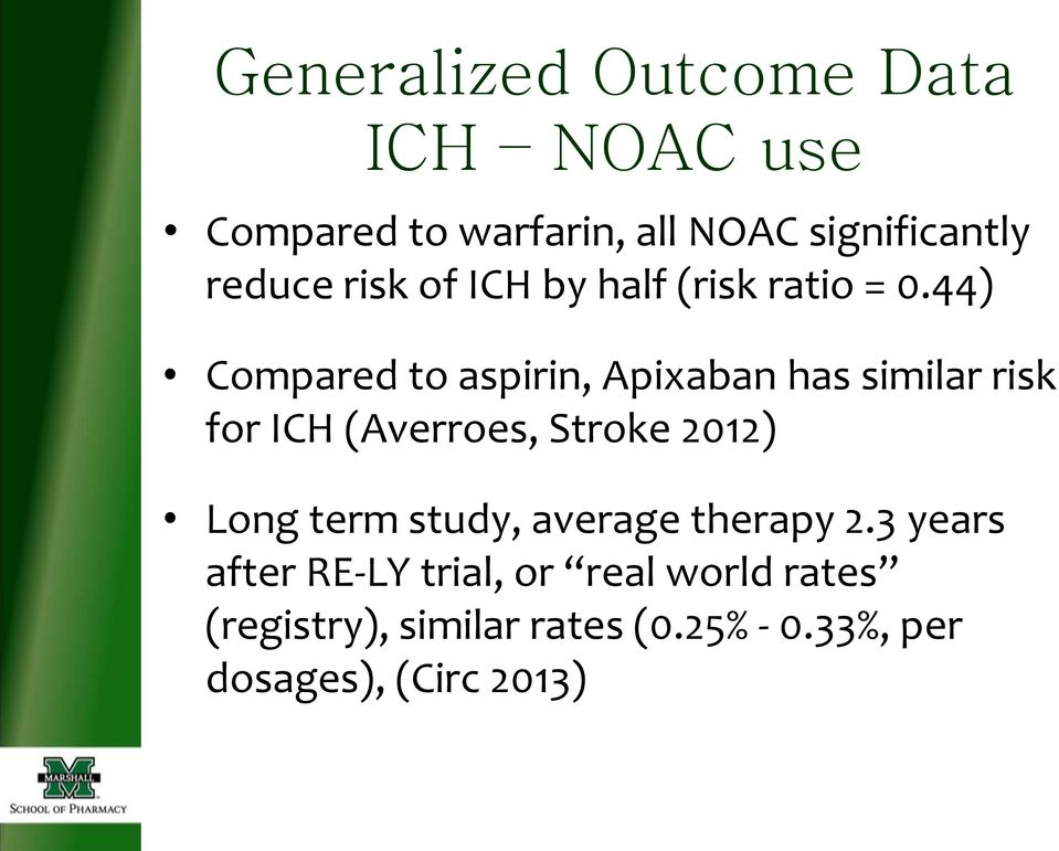44) Compared to aspirin, Apixaban has similar risk for ICH (Averroes, Stroke 2012) Long