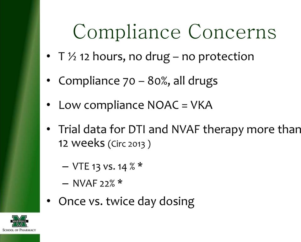 Trial data for DTI and NVAF therapy more than 12 weeks