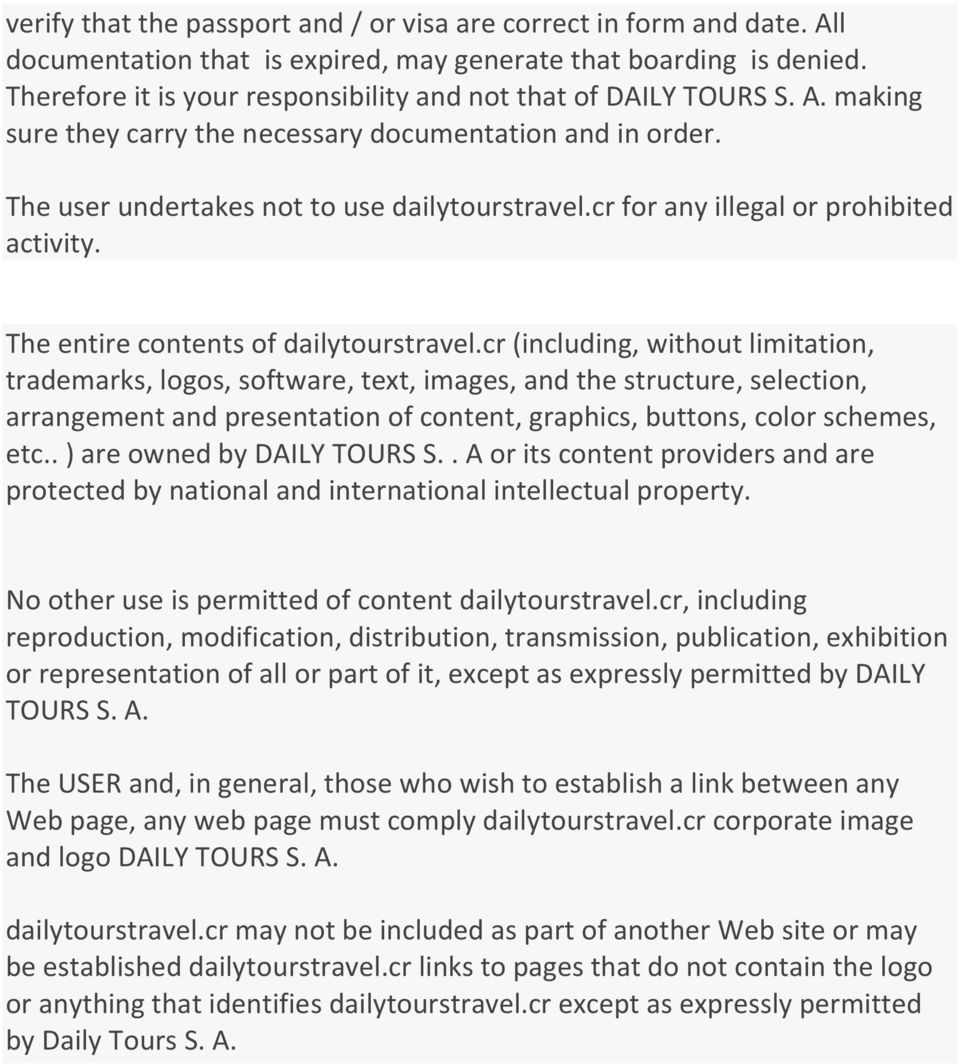 cr for any illegal or prohibited activity. The entire contents of dailytourstravel.