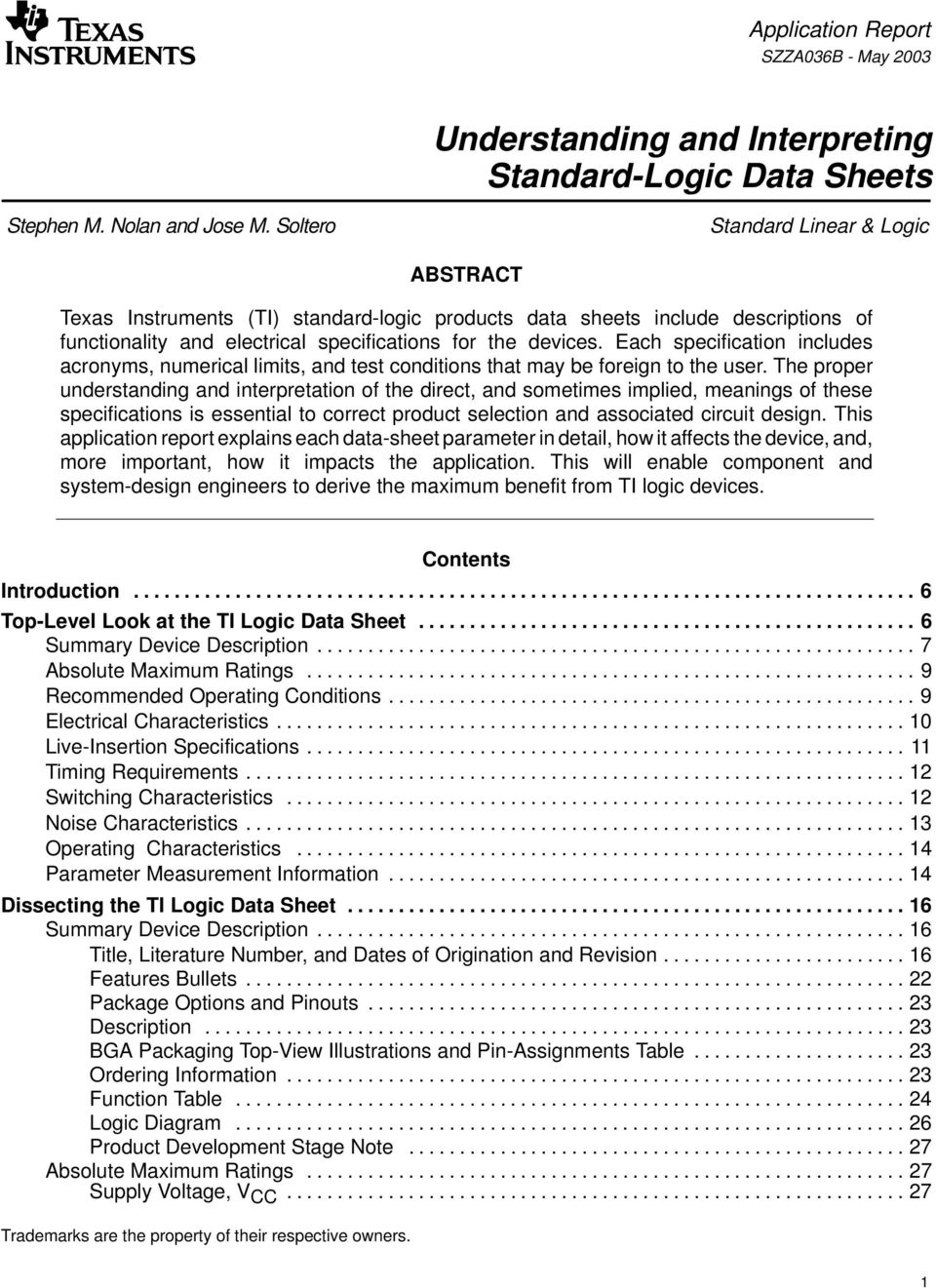 Understanding and Interpreting Standard-Logic Data Sheets - PDF