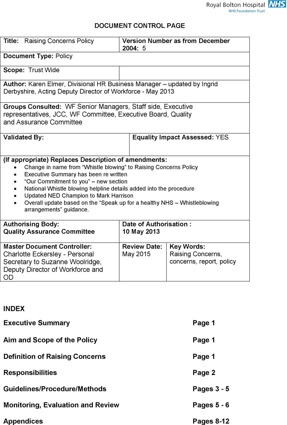 Assurance Committee Validated By: Equality Impact Assessed: YES (If appropriate) Replaces Description of amendments: Change in name from Whistle blowing to Raising Concerns Policy Executive Summary