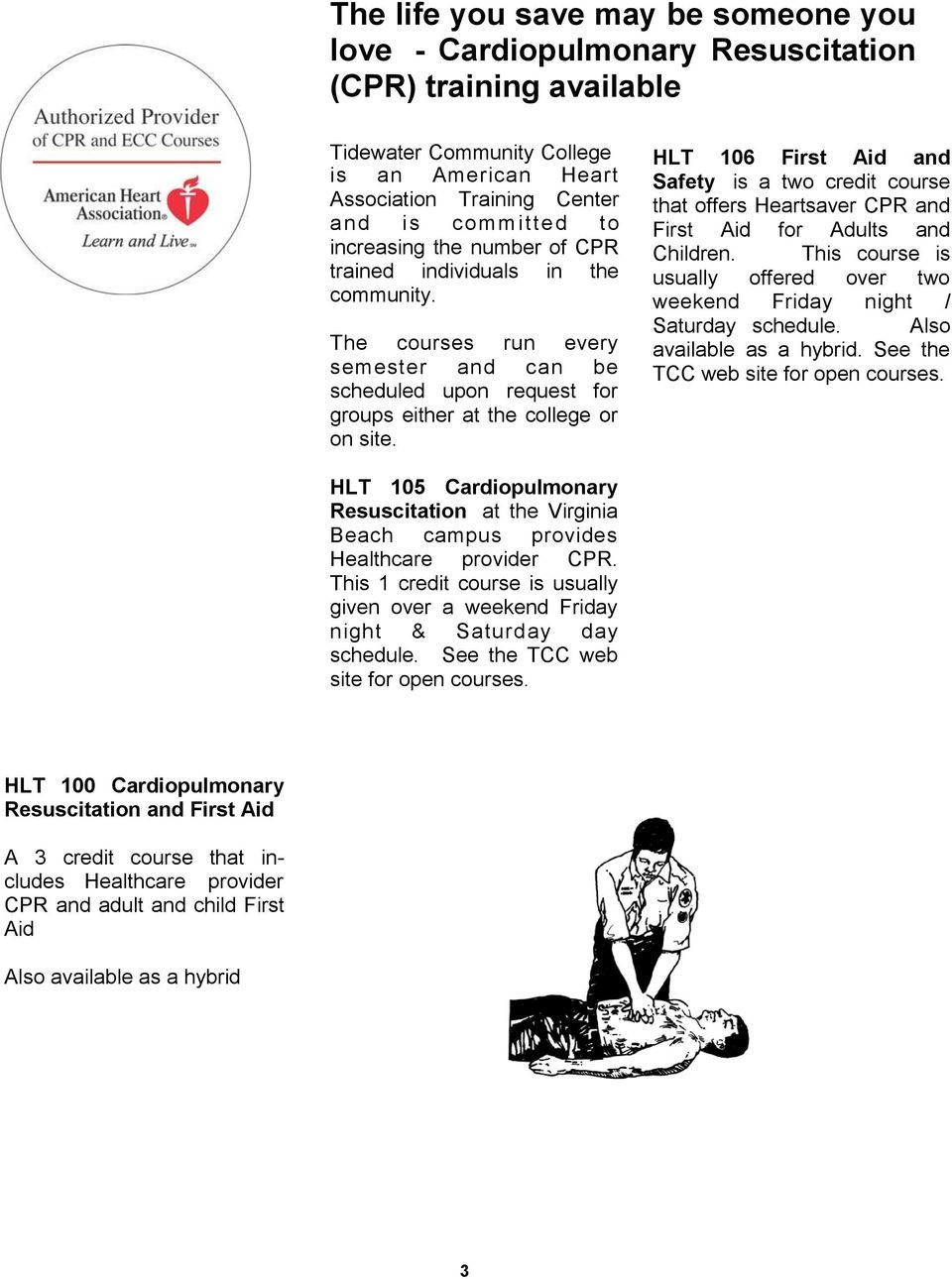 HLT 106 First Aid and Safety is a two credit course that offers Heartsaver CPR and First Aid for Adults and Children. This course is usually offered over two weekend Friday night / Saturday schedule.