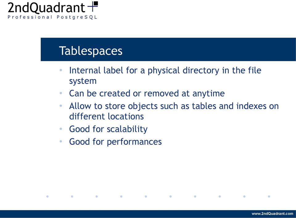 Allow to store objects such as tables and indexes on