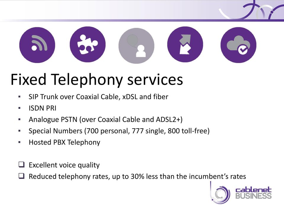 (700 personal, 777 single, 800 toll-free) Hosted PBX Telephony Excellent