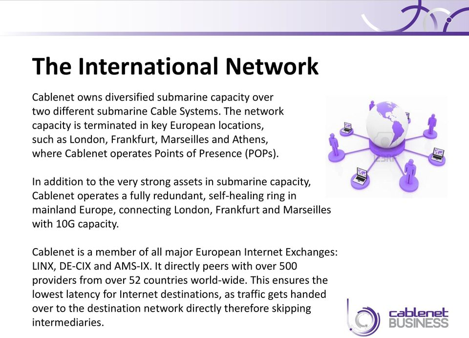 In addition to the very strong The assets International in submarine Network capacity, Cablenet operates a fully redundant, self-healing ring in mainland Europe, connecting London, Frankfurt and