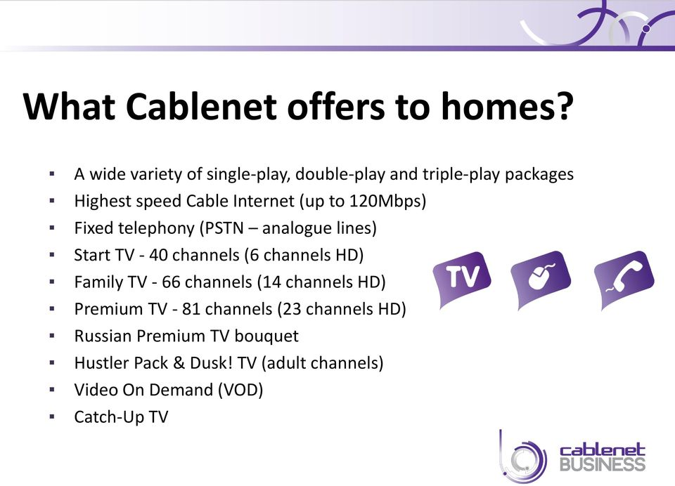 to 120Mbps) Fixed telephony (PSTN analogue lines) Start TV - 40 channels (6 channels HD) Family TV -