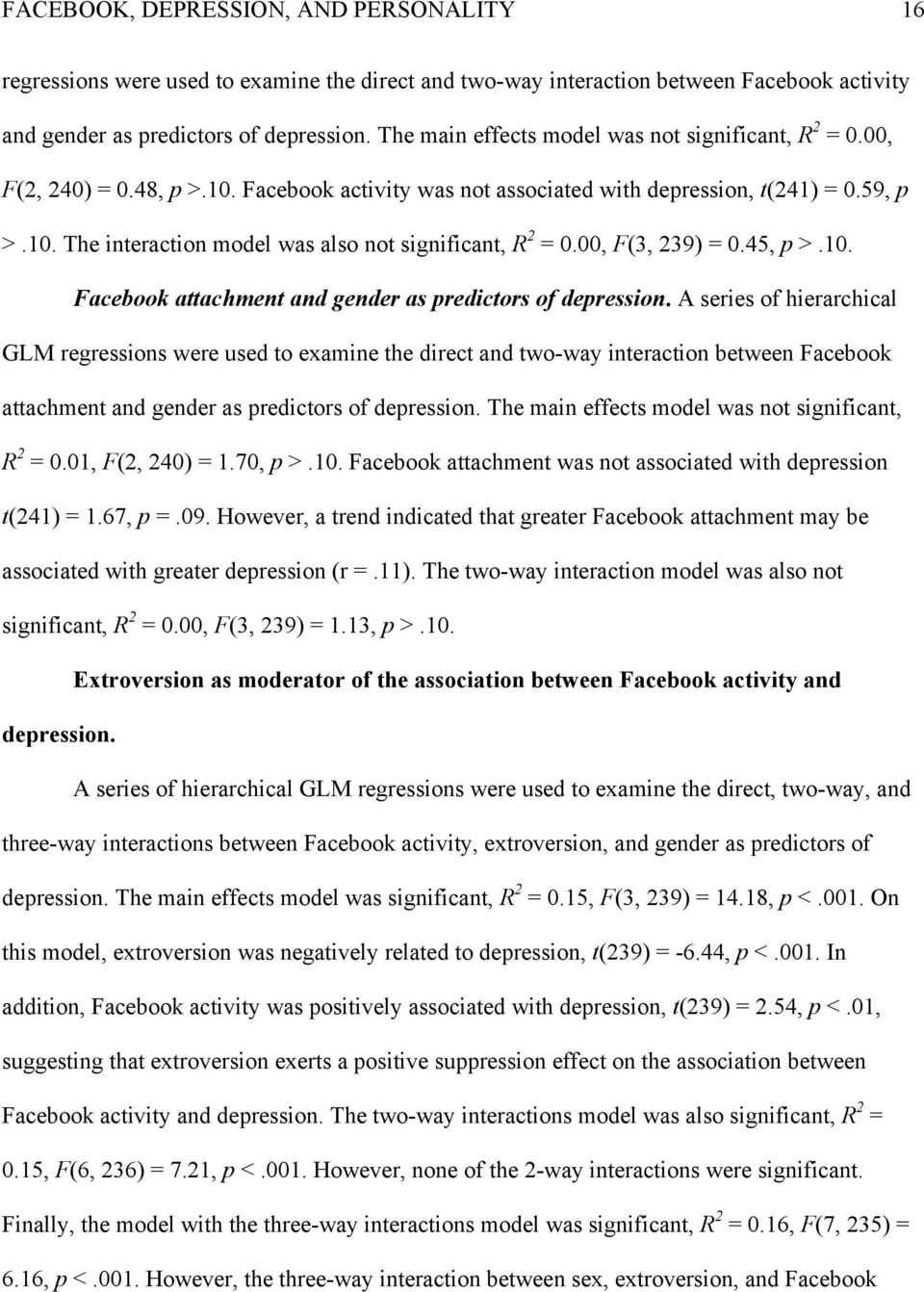 00, F(3, 239) = 0.45, p >.10. Facebook attachment and gender as predictors of depression.